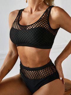 ZAFUL Fishnet Fuller Bust High Rise Tankini Swimwear - Black M