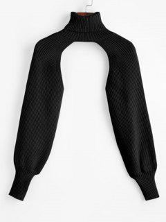 Turtleneck Shrug Sweater - Black