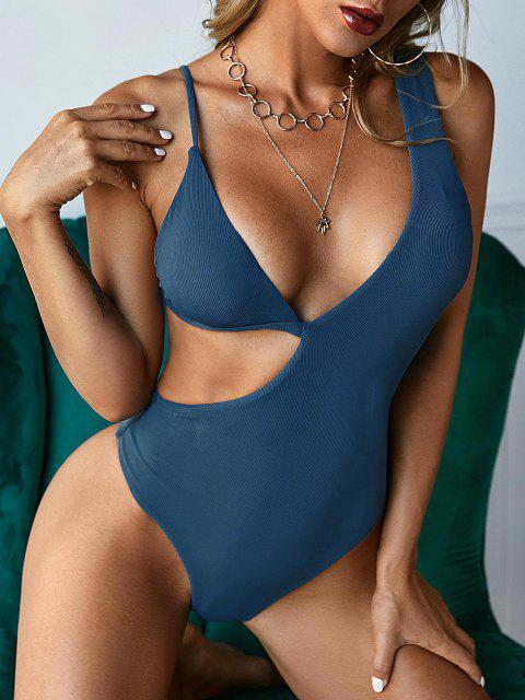 fancy ZAFUL Ribbed Asymmetrical Cutout One-piece Swimsuit - DEEP BLUE S Mobile
