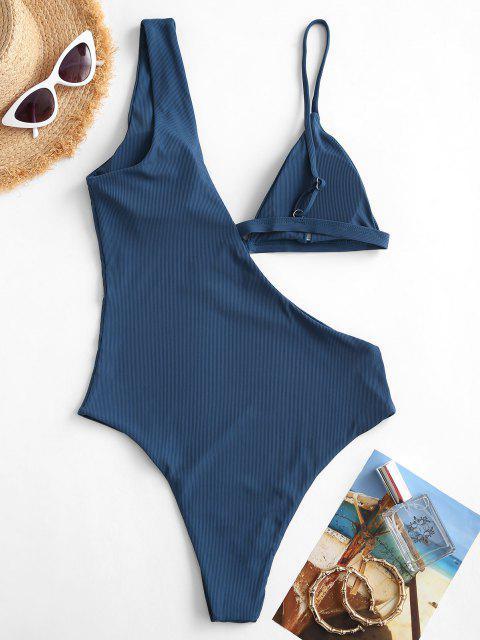 fancy ZAFUL Ribbed Asymmetrical Cutout One-piece Swimsuit - DEEP BLUE S Mobile