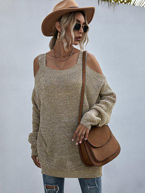 trendy Heathered Cold Shoulder Oversize Sweater - LIGHT COFFEE L Mobile