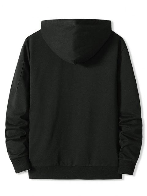 lady Zipper Pocket Half Zip Hoodie - BLACK XL Mobile