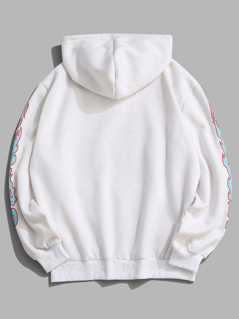 buy ZAFUL Contrast Fire Flame Pattern Fleece Hoodie - WHITE 2XL Mobile