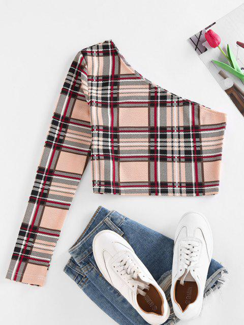 fashion ZAFUL Plaid One Shoulder Crop T Shirt - LIGHT COFFEE S Mobile