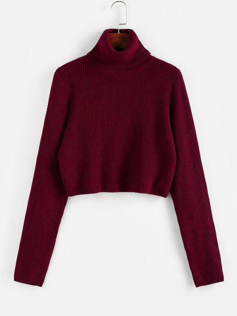 women ZAFUL Turtleneck Plain Crop Sweater - RED WINE L Mobile
