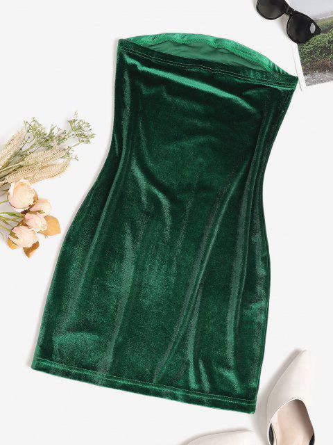 online Bandeau Velvet Bodycon Cocktail Dress - DEEP GREEN M Mobile
