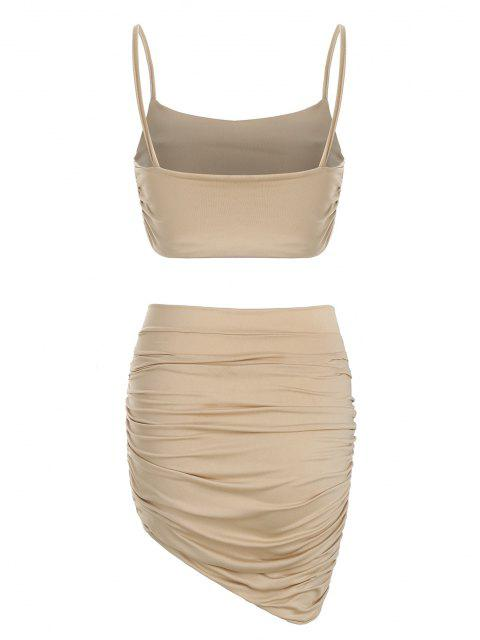 latest Ruched Slinky Two Piece Dress - TAN S Mobile
