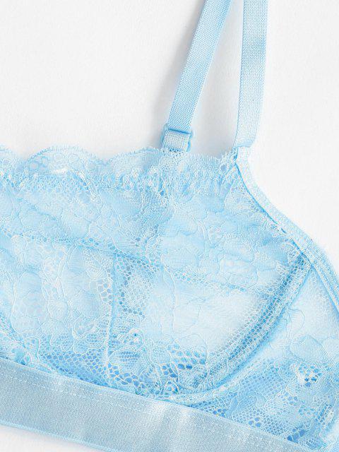 best Underwire Lace Mesh Tanga Lingerie Set - BLUE IVY M Mobile