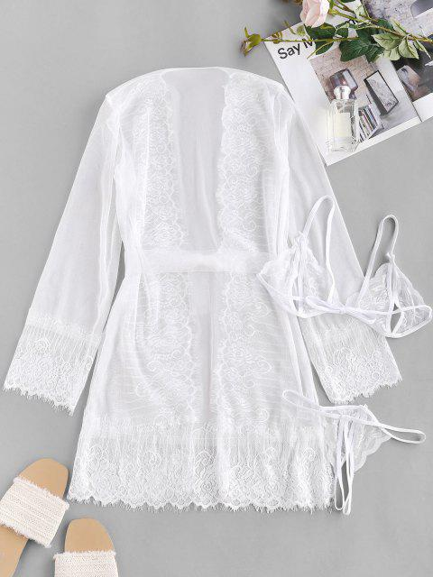 hot Lace Mesh See Thru Sexy Lingerie Robe Set - WHITE ONE SIZE Mobile