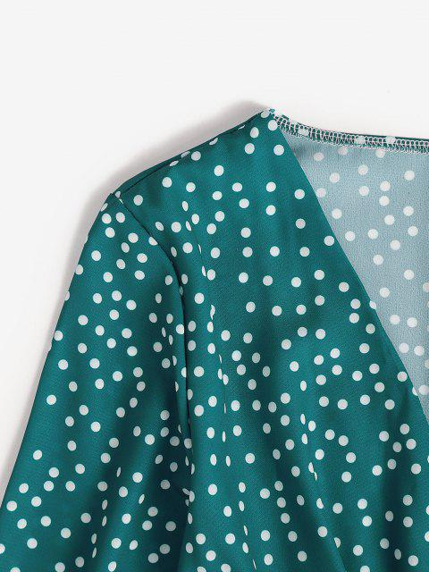 chic Polka Dot Surplice A Line Tie Waist Dress - DEEP GREEN S Mobile