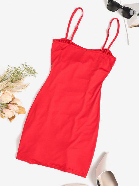 fancy Ruched Adjustable Strap Bodycon Cami Dress - RED M Mobile