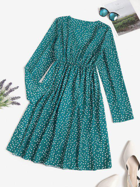 sale Polka Dot Surplice A Line Tie Waist Dress - DEEP GREEN M Mobile
