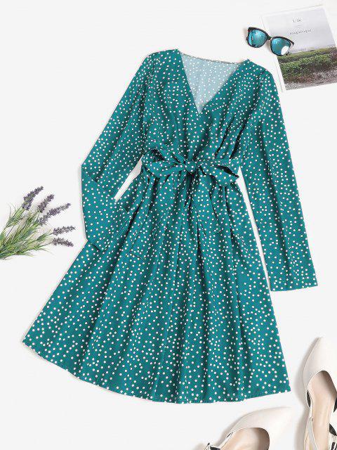 Vestido en a Adelgazante Lunares Polka - Verde Oscuro M Mobile