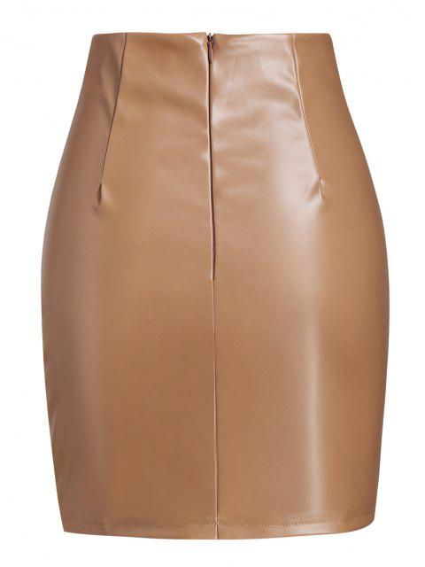 chic V-waist Faux Leather Mini Skirt - COFFEE S Mobile