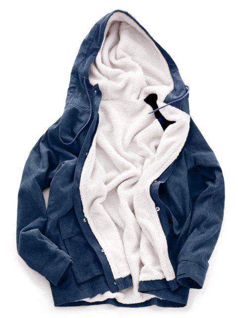 women Faux Fur Raglan Sleeve Hooded Corduroy Jacket - DARK SLATE BLUE 2XL Mobile