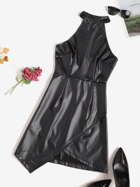 fancy Faux Leather Overlap Open Back Bodycon Dress - BLACK M Mobile