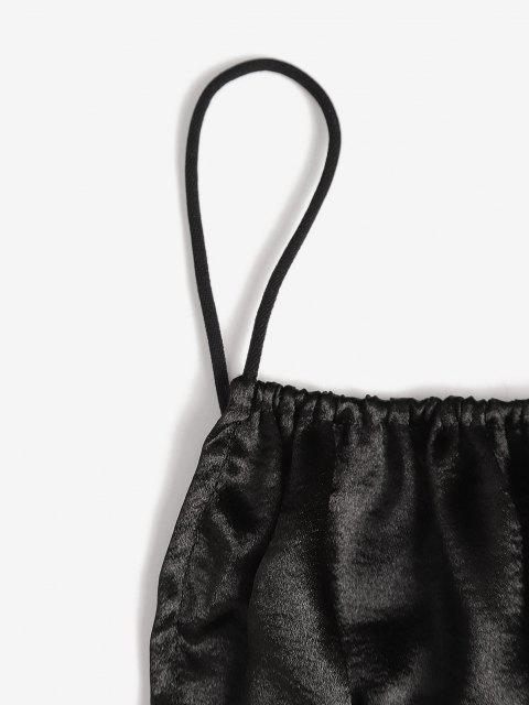 shop Ruched Zip Back Sheeny Cami Top - BLACK S Mobile