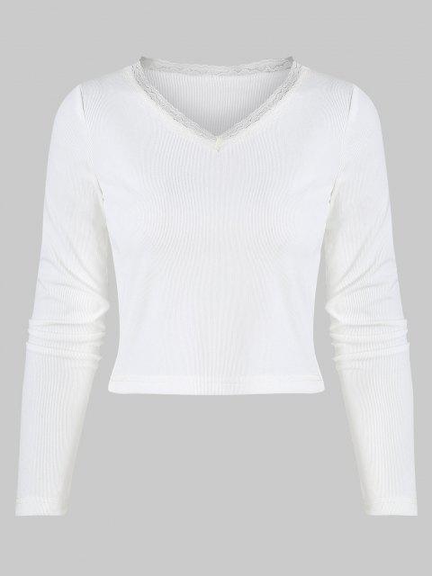 T-shirt Côtelé à Bordure en Dentelle à Col V pour Bébé - Blanc L Mobile