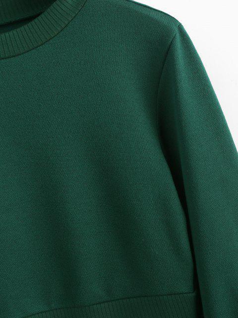 Suéter Barriga de Fora com Gola Redonda e Manga Raglã - Verde L Mobile