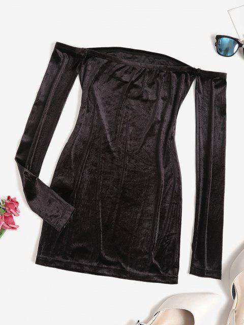 fashion Off Shoulder Velvet Mini Bodycon Dress - BLACK S Mobile