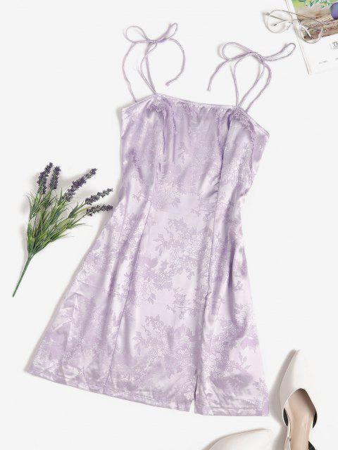 affordable Jacquard Satin Tie Shoulder Slit Cami Dress - LIGHT PURPLE S Mobile