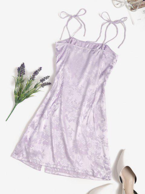 best Jacquard Satin Tie Shoulder Slit Cami Dress - LIGHT PURPLE M Mobile