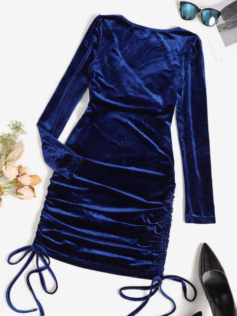 Vestido Cóctel de Terciopelo con Escote Cruzado - Azul Profundo S Mobile