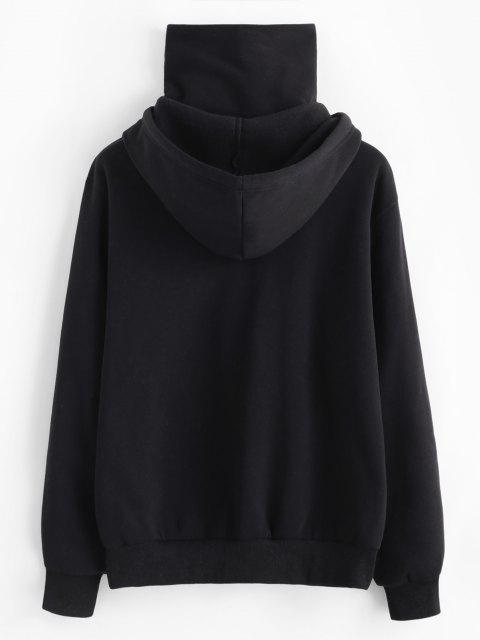 sale ZAFUL Letter Flame Print Fleece Mask Hoodie - BLACK M Mobile