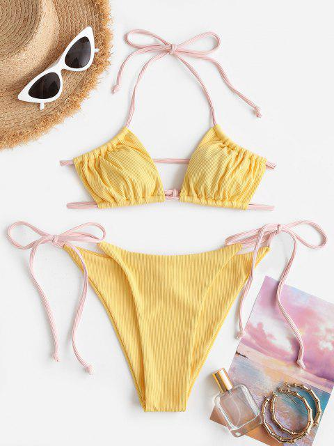 Costume da Bagno Bikini Annodato a Costine di ZAFUL - Giallo M Mobile