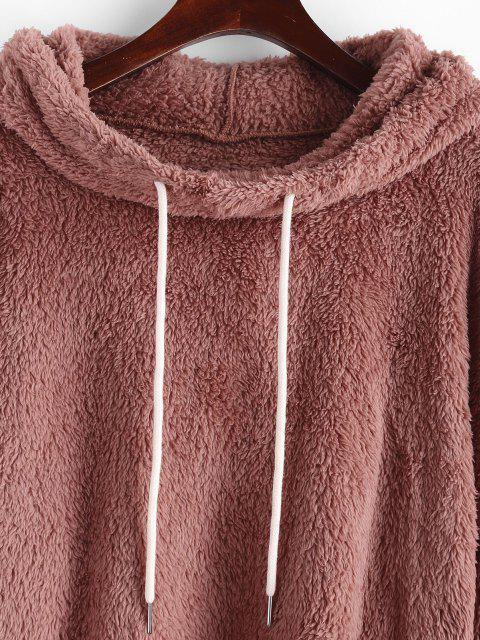 online ZAFUL Fluffy Funnel Drop Shoulder Drawstring Hoodie - LIGHT PINK L Mobile