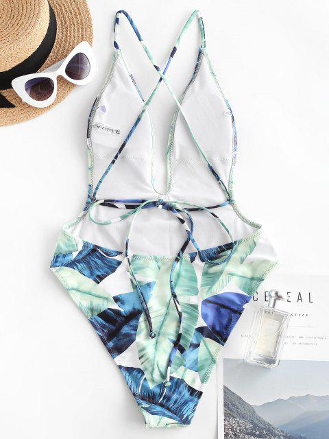 unique ZAFUL Tropical Leaf Cross Plunge One-piece Swimsuit - LIGHT GREEN M Mobile