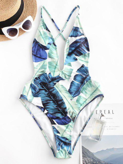 sale ZAFUL Tropical Leaf Cross Plunge One-piece Swimsuit - LIGHT GREEN L Mobile