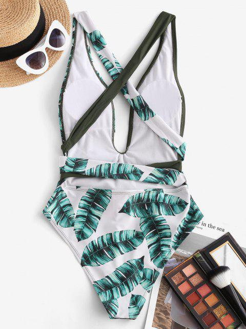 affordable ZAFUL Palm Print Plunging Criss Cross One-piece Swimsuit - DEEP GREEN S Mobile