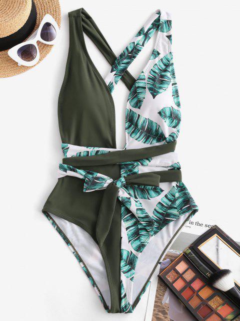 ZAFUL Una Pieza de Criss Cross con Estampado de Palma - Verde Oscuro M Mobile