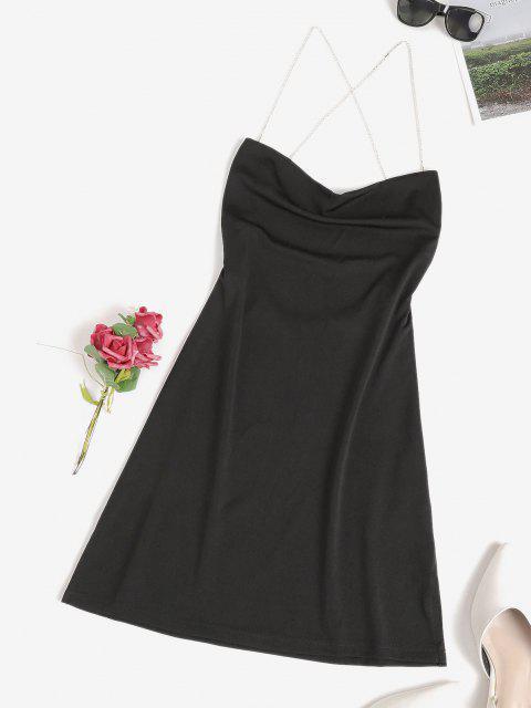 Diamante Kreuzes und Queres Rückenfrei Schlitz Rückenfreies Kleid - Schwarz S Mobile