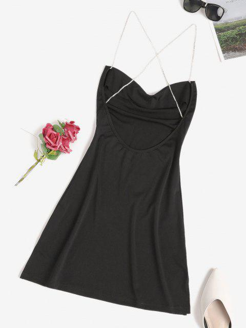 Diamante Kreuzes und Queres Rückenfrei Schlitz Rückenfreies Kleid - Schwarz M Mobile