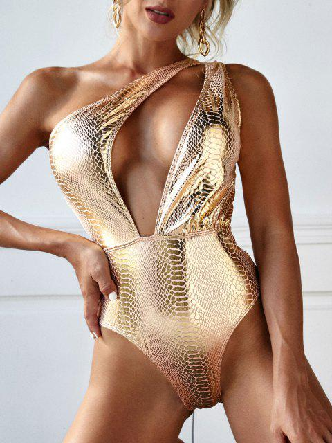 ZAFUL One Shoulder Metallic Snakeskin Disco Cutout One-piece Swimsuit - ذهبي S Mobile