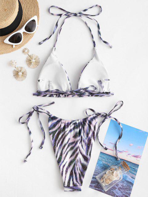 affordable ZAFUL Metallic Sparkly Tiger Print Ribbed String Bikini Swimwear - PURPLE S Mobile