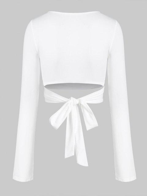 chic Tie Back Cropped Wrap Top - WHITE M Mobile