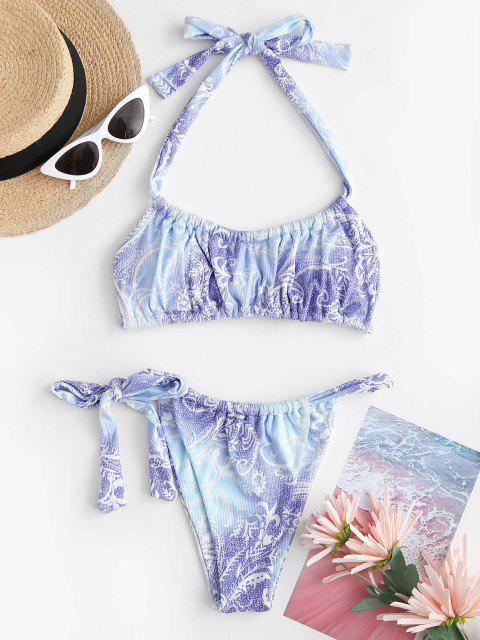 unique ZAFUL Ombre Leaf Print Ribbed Halter Tanga Bikini Swimwear - LIGHT BLUE M Mobile