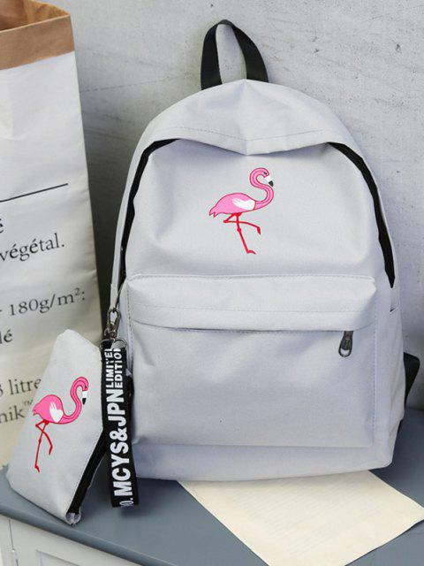 2Pcs Flamingodruck Canvas Stift Rucksack Set - Graue Wolke  Mobile