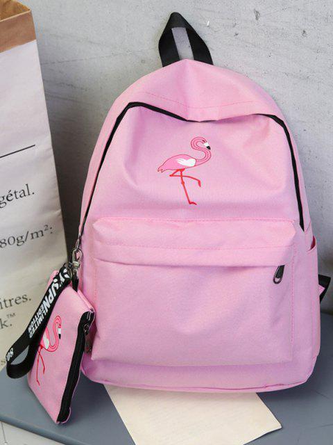 2Pcs Flamingodruck Canvas Stift Rucksack Set - Schwein Rosa  Mobile