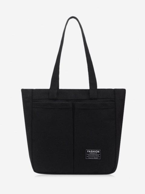 womens Letter Label Canvas Tote Bag - BLACK  Mobile