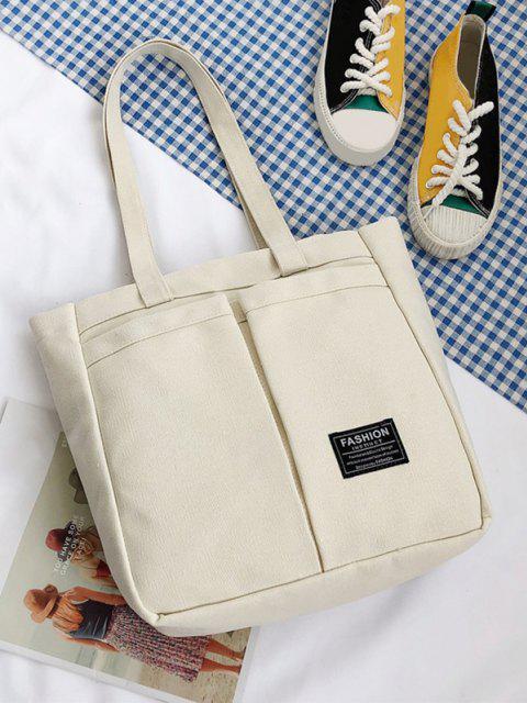 women Letter Label Canvas Tote Bag - MILK WHITE  Mobile