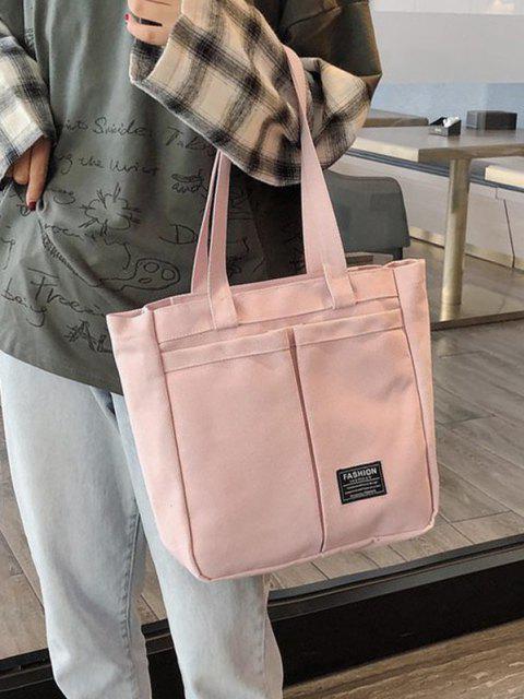 Borsa a Mano in Canvas con Etichetta a Lettera - Rosa Suino  Mobile