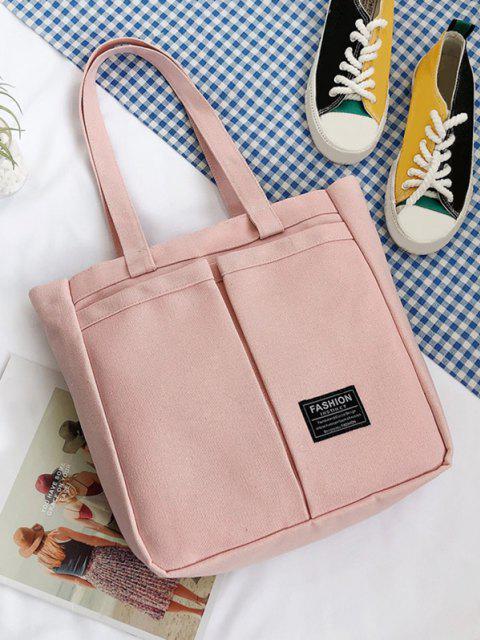 women's Letter Label Canvas Tote Bag - PIG PINK  Mobile