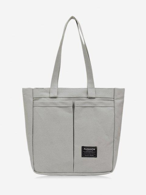 ladies Letter Label Canvas Tote Bag - BATTLESHIP GRAY  Mobile