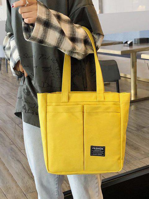 lady Letter Label Canvas Tote Bag - SUN YELLOW  Mobile