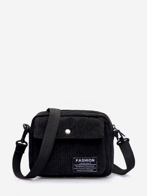unique Letter Label Corduroy Crossbody Bag - BLACK  Mobile