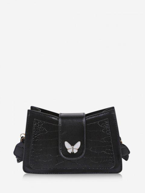 sale Wrinkle Butterfly Textured Solid Crossbody Bag - BLACK  Mobile